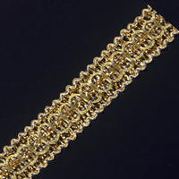 Braided Lace Ribbon Gold Metallic Trim Embroidered Embellishment Applique Trimming Sewing Supplies for Costume 30yd/T1301