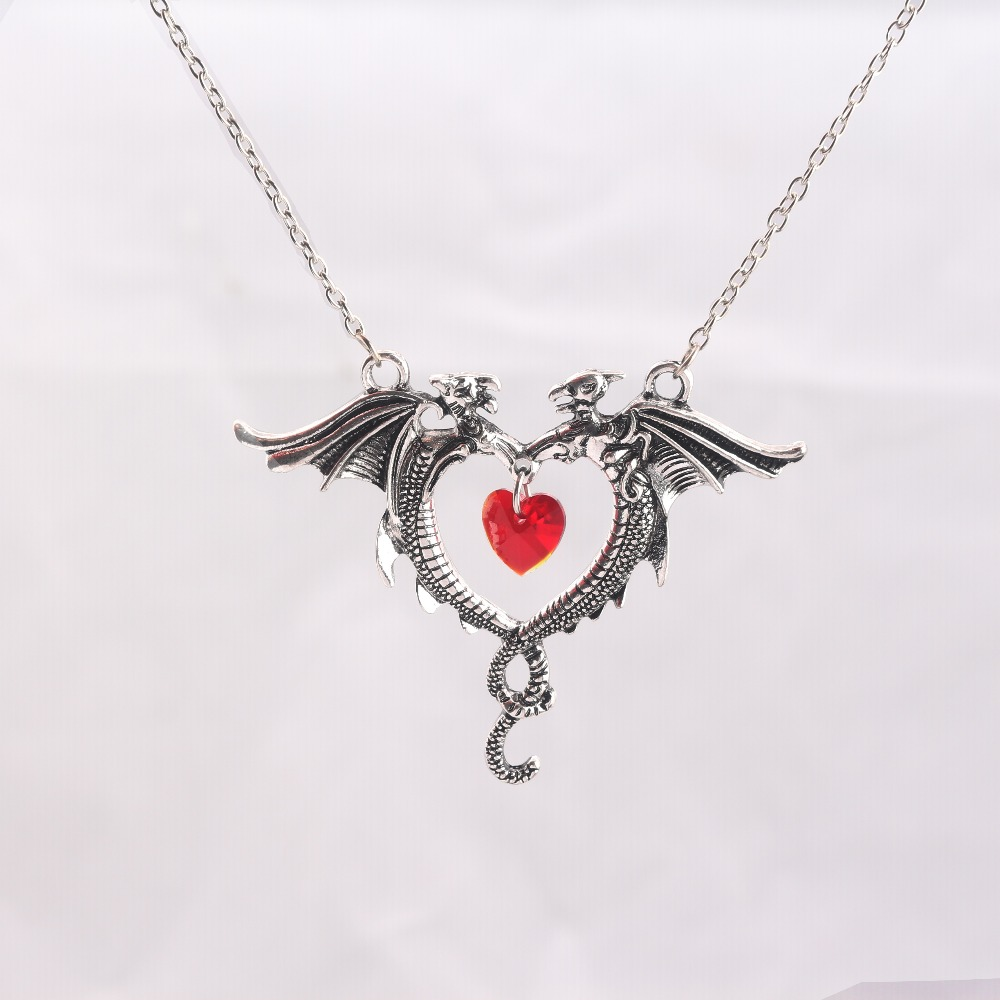 New Game of Throne Necklace Dragon crystal heart Pendants
