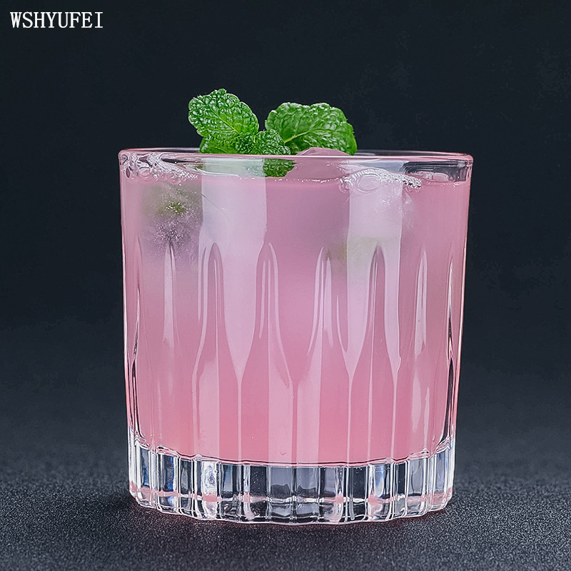 WSHYUFEI Carved whiskey glass ice hockey cup classical cocktail glass wine glass
