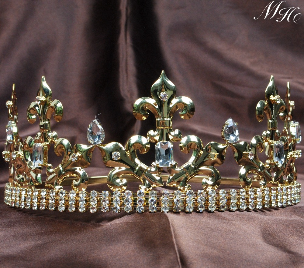تيجان ملكية  امبراطورية فاخرة King-Prince-Gold-Tiaras-Men-s-font-b-Crowns-b-font-Imperial-Medieval-Handmade-Clear-Crystal