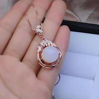 fashion clear white Jade necklace for women with silver