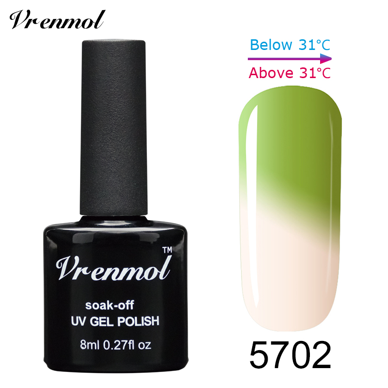 Vrenmol, 1 шт., меняющий цвет, замачиваемый УФ-гель, цвета, лак Verniz, Термальный, меняющий настроение, Гель-лак для ногтей - Цвет: 5702