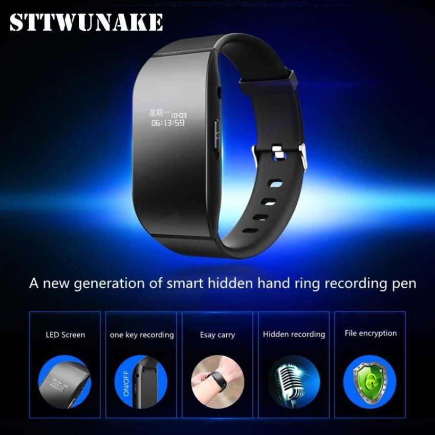 STTWUNAKE hidden bracelet voice recorder Professional Digital 8GB HD noise reduction Time stamp Spy voice recorder