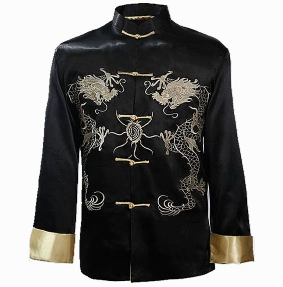 אופנה שחור גברים רקמה סינית קונג פו - בגדי גברים