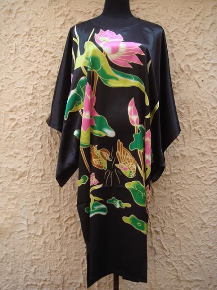 Черный Покраска Китайских женщин Шелковый Халат Ванна Платье Ночная Рубашка Юката Цветок Один Размер Бесплатная Доставка S5001