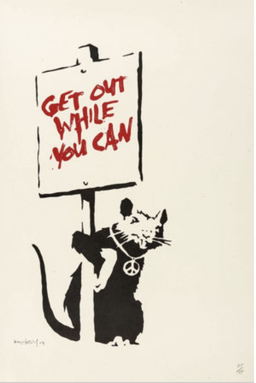 Get Out While You Can 2004 British Banksy Street Art Decorative Kraft Poster Canvas Painting Wall Sticker Home Decor Gift image
