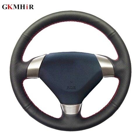 diy couro artificial mao costurado preto volante do carro capa para honda accord 7 2002