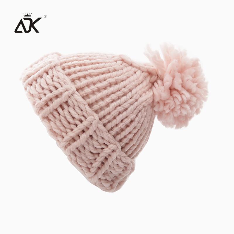 Cable Kniting Hat Female Pompoms Crochet Hat For Girls Warm Cap Women's Winter Beanies Ski Hat Bonnet Elegant Skullies Beanies