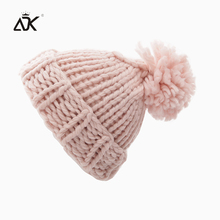 Cable Kniting Hat Female Pompoms Crochet Hat For Girls Warm Cap Women's Winter Beanies