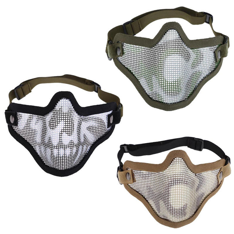 цены security labor protection Hight Quality Woodland Camo Pattern V1 Half Face Protector Airsoft Game Wire Mesh Mask FC