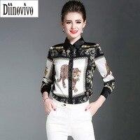 High Grade Imitated Silk Women Blouses Tops Pattern Tiger Print Shirts 2017 New Casual Brand Long