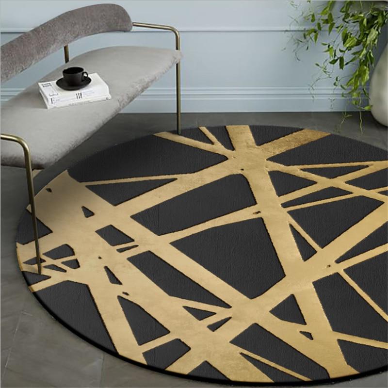 Современный круглый ковер с золотым поперечным узором для гостиной, спальни, Противоскользящие коврики, коврик для компьютерного кресла