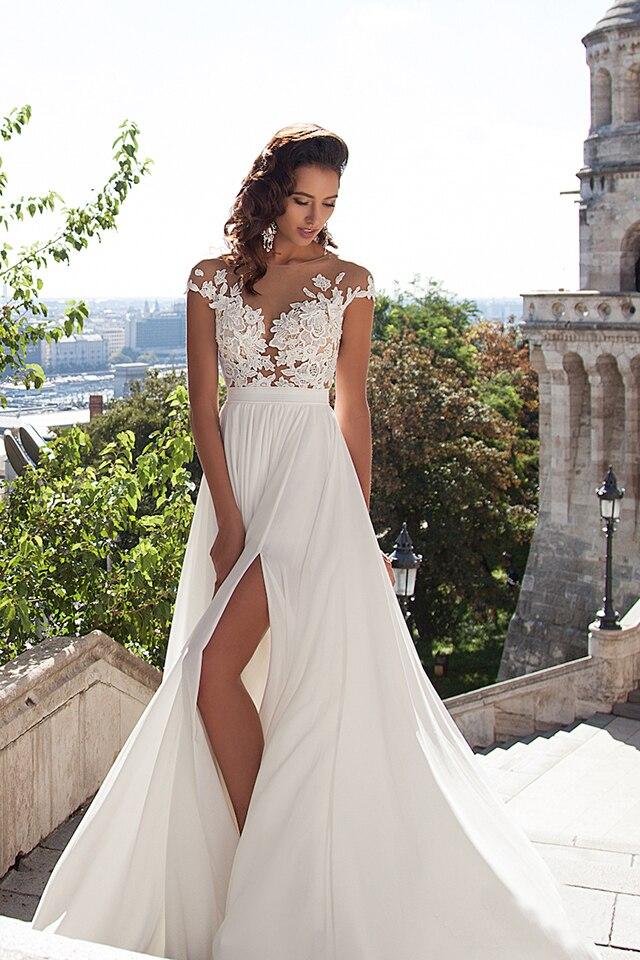 Split Front Short Lace Cap Sleeve Chiffon Beach Wedding Dress