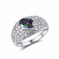 Elegant Oval Cut Rainbow Purple CZ Full Crystal Design Ring Fashion Wedding Jewelry White Gold Filled