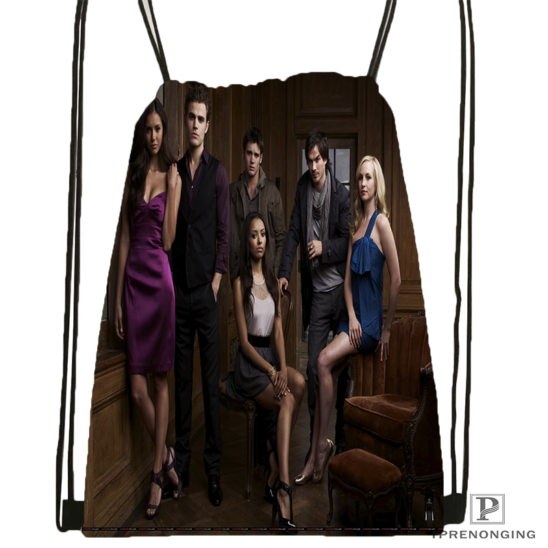 Custom The Vampire Diaries Drawstring Backpack Bag Cute Daypack Kids Satchel (Black Back) 31x40cm#180531-03-61