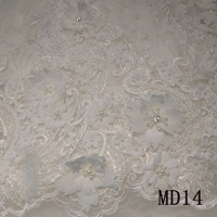 3D Lace Apparel Sewing Fabric 5YARD DIY Ivory Cream Trim Cotton Crocheted Lace Fabric Wedding Dress