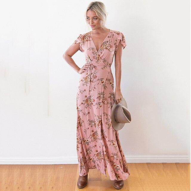 Mujeres del Vestido Del verano Del Vestido Maxi Floral de 2017 Boho ...