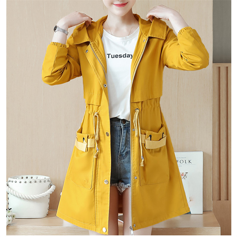 Harajuku Green Étudiant Manteau vent Automne Femmes yellow Trench white Long Taille Pardessus Femme Coréenne Grande Rose Hoodies Coupe pink Casual Dames 1Or1wxPT