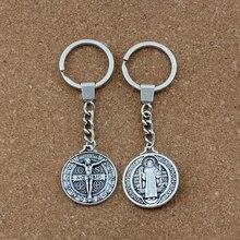 30mm Keychain Saint Jesu Benedict Nursia Patron Medal Crucifix Cross Religious Key Ring Travel Protection 29mm Pendant  1pcs