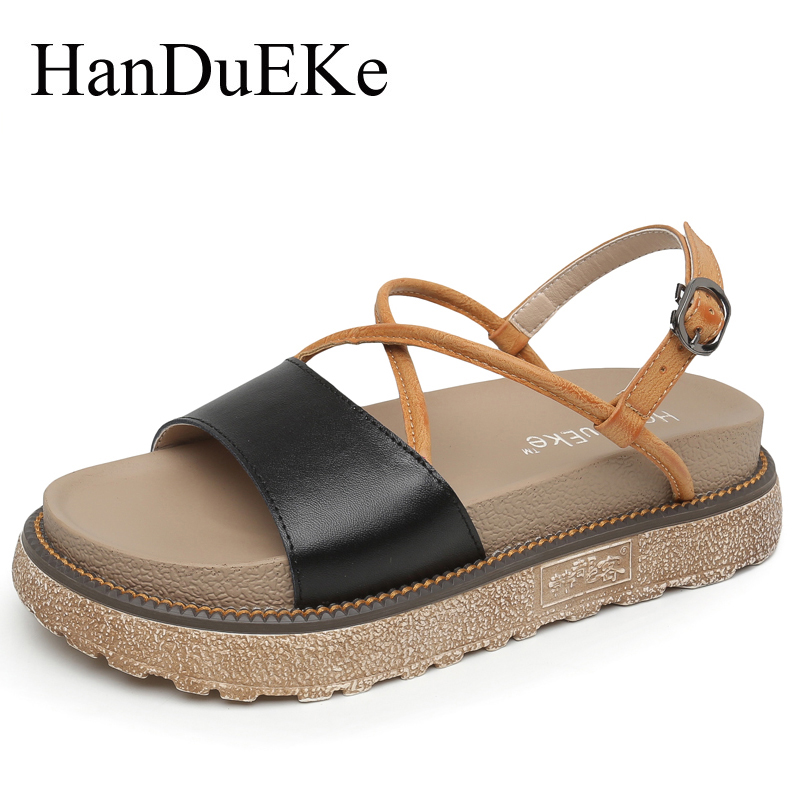 HanDuEKe Summer Fashion Genuine Leather Women Gladiator Sandals Ladies Platform Sandals Students Casual Shoes Woman Beach Shoes phyanic 2017 gladiator sandals gold silver shoes woman summer platform wedges glitters creepers casual women shoes phy3323