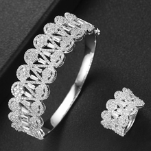 SisCathy 2019 Hot Charms 2PCS Dubai Jewelry Sets Cubic Zirconia Open Bangle/Ring For Women Brand Nigerian Wedding Jewelry Sets недорого