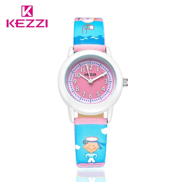 HongKong Brand KEZZI Life Waterproof Stick Figure Kids Watches Beautiful Navy And Seagull Children's Videos Quartz Watch Gifts