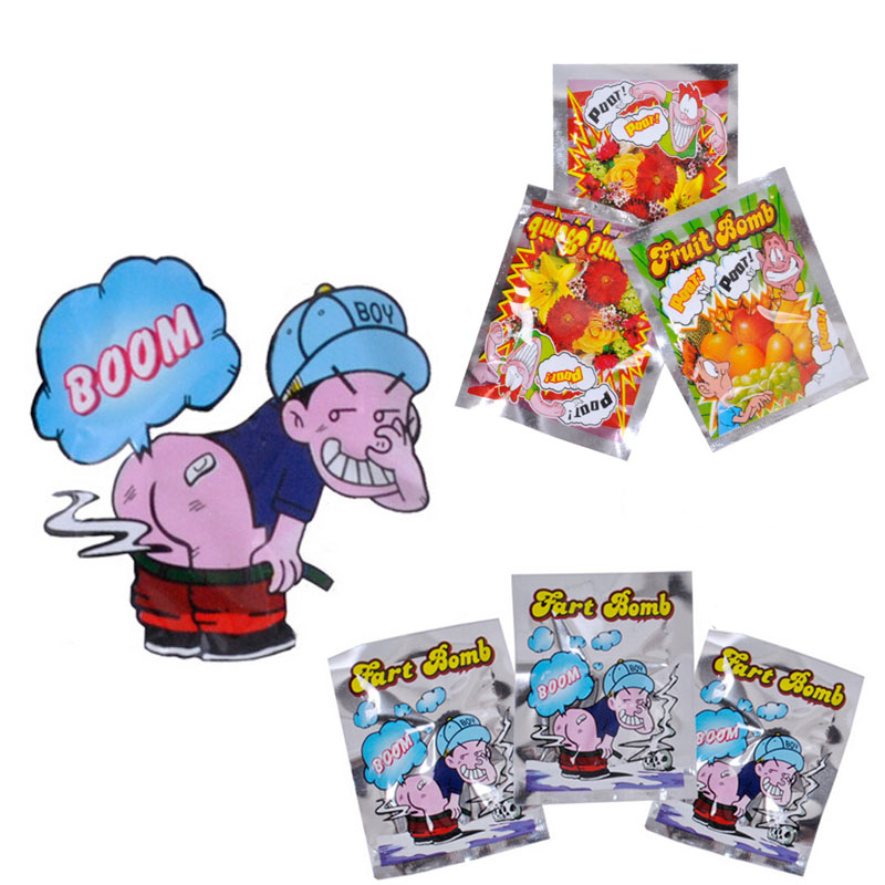 Hot Selling 10pcs Funny  Fart Bomb Bags Stink Bomb Smelly Funny Gags Practical Jokes Fool Toy
