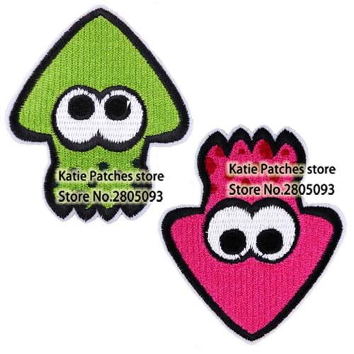green and purple squid logo iron on embroidered patch online game splatoon fabric jacket patch kids clothing diy accosseries buy at the price of 10 20 in aliexpress com imall com imall