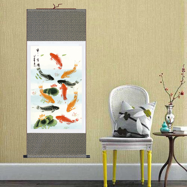 Modern Wall Art Goldfish Paintings Chinese Silk Scrolls Hanging ...