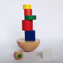 Baby Toys Wooden Geometric Blocks Balancing Game Canvas Bag Small Size Early Learning Educational Blocks Child