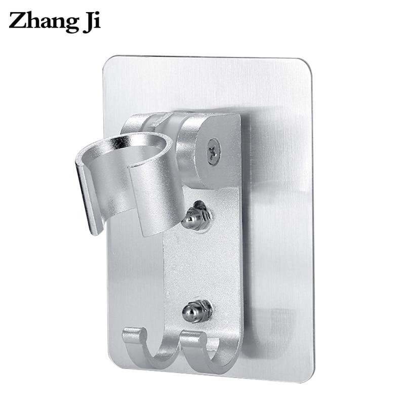 ZhangJi Bathroom Aluminium Shower Head Holder with 2 Hook Dual Install Self-Adhisive Rustproof Adjustable No Drill Shower Holder