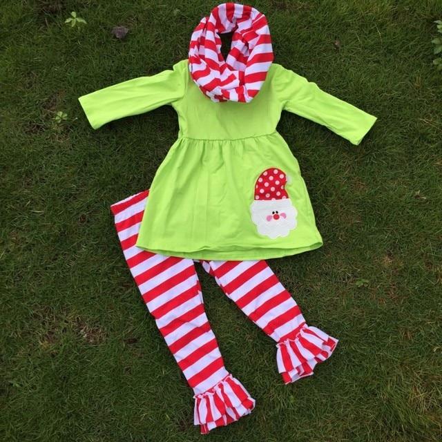 ОСЕНЬЮ НАРЯДЫ девушки Рождественские брюки наборы 3 шт. шарф наборы дети Санта одежды дети зеленый топ наборы привередливый девочки