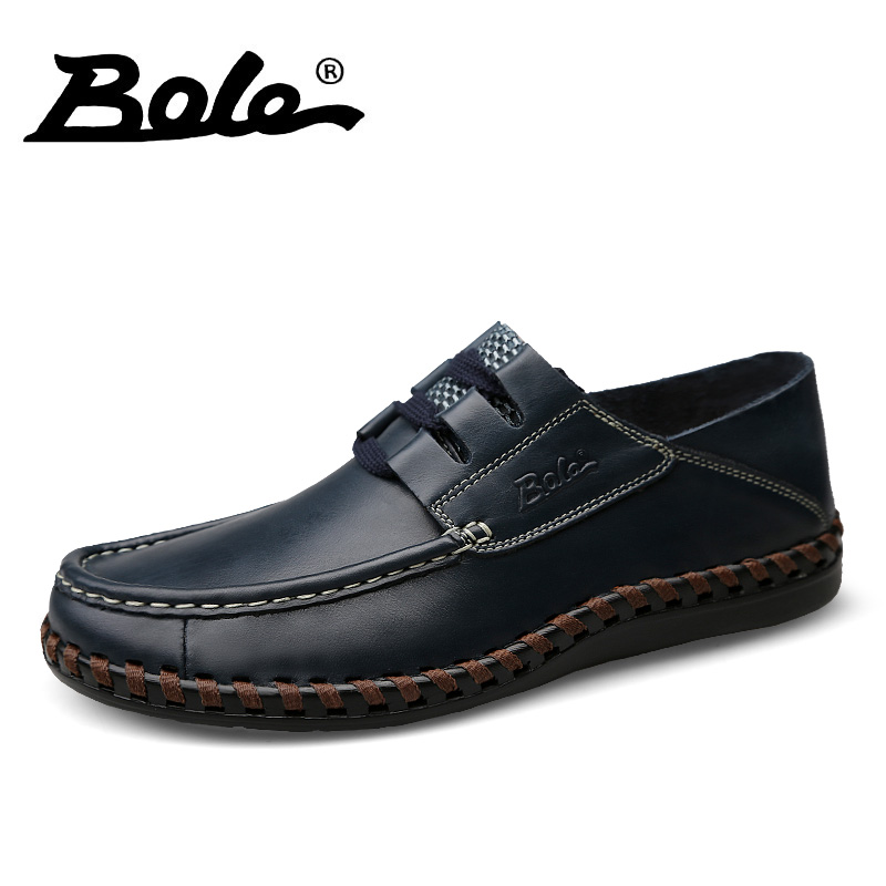 BOLE Genuine Leather Shoes Men High Quality Soft Leather Handmade Casual Shoes Lace Up Round Toe Flat Shoes for Men цена
