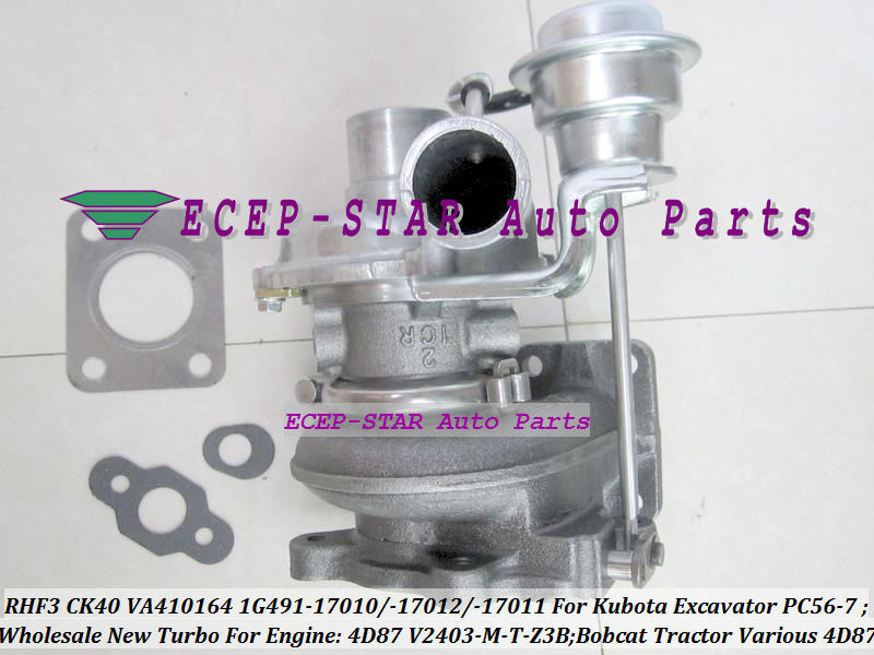 TURBO RHF3 CK40 VA410164 1G491-17011 1G491-17012 1G491-17010 Turbocharger For Kubota Excavator PC56-7 Bobcat Tractor 4D87 V2403-M-T-Z3B (3)