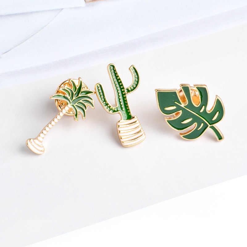 Cactus Palm Daun Tanaman Pohon Alami Keras Enamel Bros Kerah Pin Kaktus Hadiah Mewah Perhiasan BoHo Style