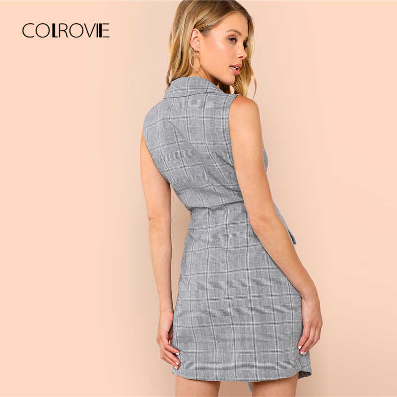 a7bc285d722 ... COLROVIE Plaid Work Wrap Button Pockets Vintage Dress V Neck Shirt Sexy  Dress Women Autumn Elegant ...