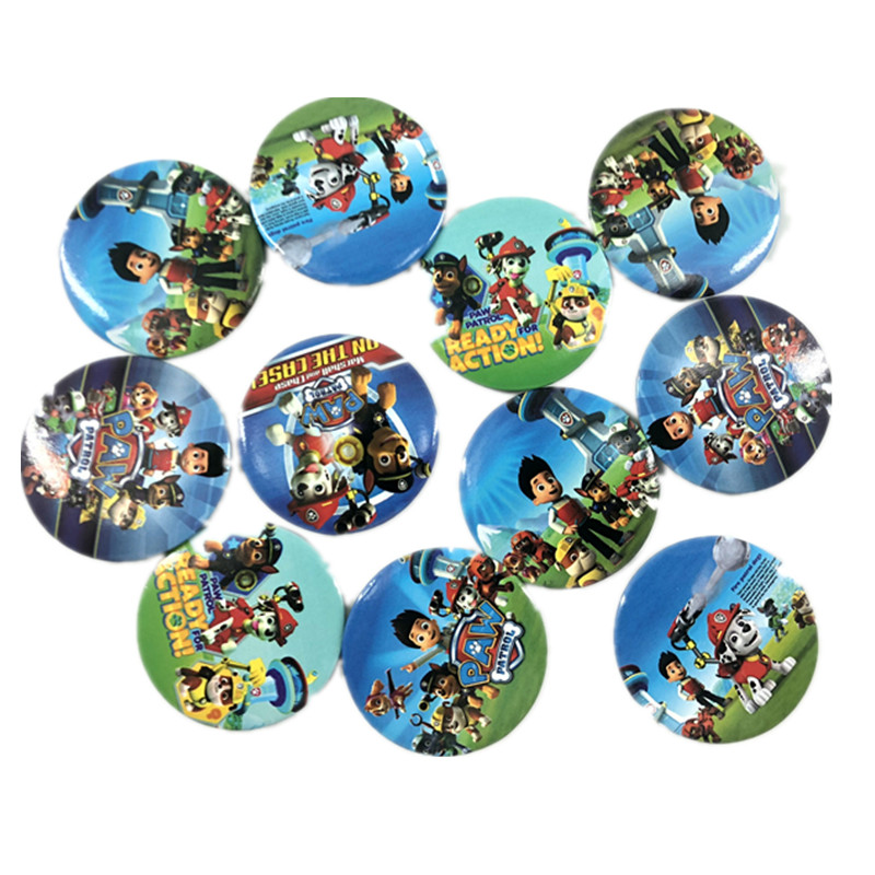 Paw Patrol Dog  Cartoon Small Badges Wrought Iron Badge Tinplate Toys Birthday Party Decoration Supplies For Children Gift