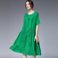 Free ship 2019 Summer style European Women short Sleeve Elegant Cupro Dress round neck loose smooth midi dress vestido Plus size