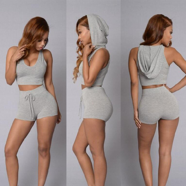 81d508ac1504c 2Pcs Women Outfits Sexy Crop Tops Shorts Ladies Suit Clothes Sets