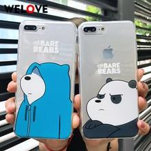 New Cute fashion We Bare Bears Soft TPU Phone Case For iPhone XR Cartoon Lovely Bear Cover Fundas 6 6S 7 8 Puls