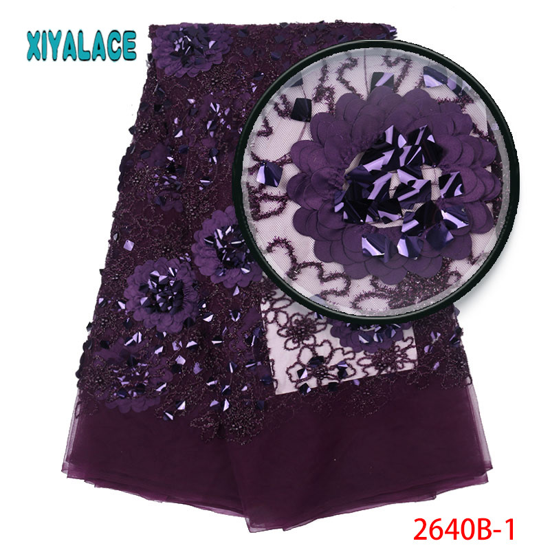Hot Sale African Lace Fabric High Quality 3d French Nigerian Tulle Lace Fabric Sequins Fabric For African Bridal Lace 2640b