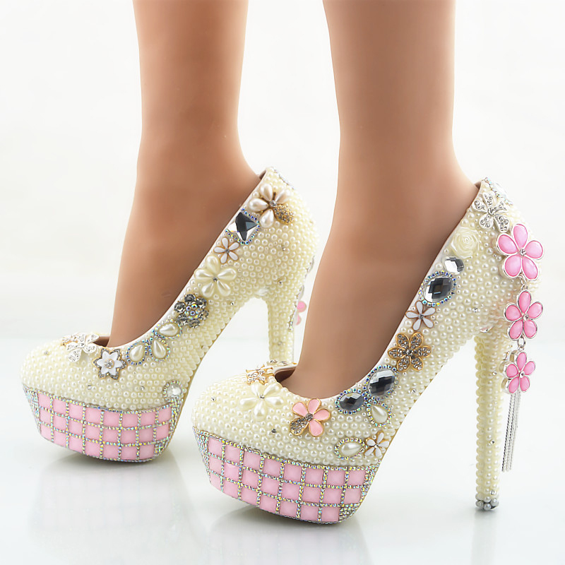 ФОТО Ivory Pearl Wedding Shoes Women Stiletto Heel Bridal Dress Shoes Party Prom Pumps Rhinestone Pink Platforms Plus Size US 11