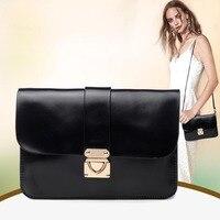 Lady Vintage Genuine Leather Bags Mobile Phone Bag Women Mini Messenger Metal Lock Shoulder Bags Day
