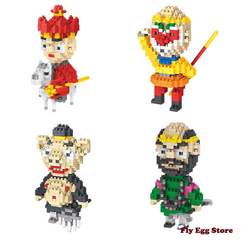Фотография 4 pcs/ set Journey to the West Model Building Kits Tang Priest and his three disciples toy for adult boy girl building block toy