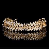 Vintage Gold Silver Leaf Tiara Wedding Hair Vine Accessories Rhinestone Bridal Headband Hair Jewelry Women Headwear