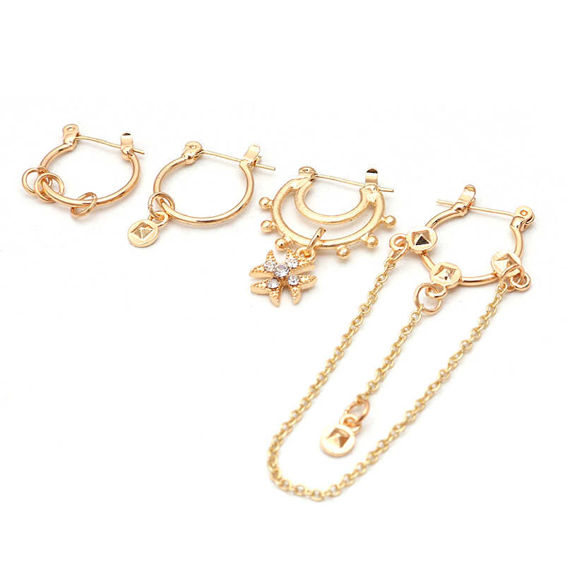 LWONG 4 ชิ้น/เซ็ตอินเทรนด์ Gold Silver สีขนาดเล็ก Hoop ต่างหูชุดหูเจาะ Huggie ต่างหูผู้หญิงเครื่องประดับ Bijoux Brincos