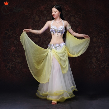 Stage & Dance Wear with LED Belly Dancing Clothes Oriental Dance Outfits Belly Dance Beaded Costume Bra Skirt LED Costume