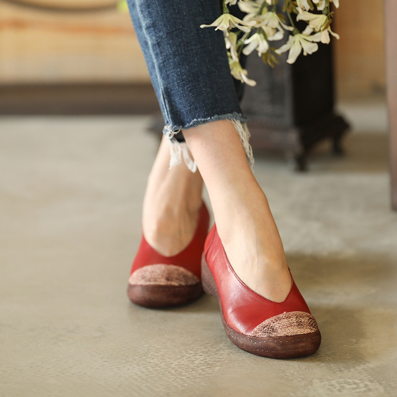 2018 handmade female shoes wedges casual soft leather woman pumps shallow mouth patchwork 9011 size 35-40