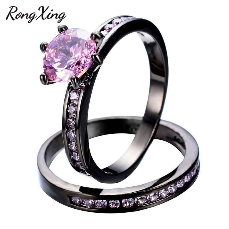 rongxing elegant pink stone ring set women charming wedding jewelry black gold filled october birthstone engagement rings rb0548