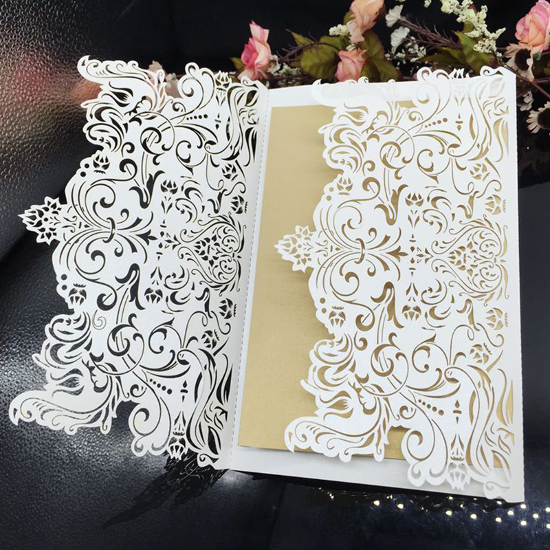 100Set/lot Laser Cut Universal Invitations Elegant Flower Wedding Birthday Invitation Cards with Envelope Free Printing colorful white ribbons bow laser cut wedding invitations set blank paper insert romantic printing invitation cards kit